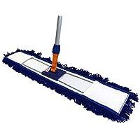 Clim Profesional® - Mopa plana industrial acrílica de 100 cms con bastidor y mango extensible de 150 cm incluidos. Mopa acrílica antiestática especial para limpiar el polvo. Más resistencia