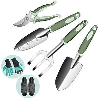 Lekind Garden Tools Set - Garden Hand Tools 8 Piece Gardening Kit Ergonomic Hand Digging Rake, Shovel, Trowel, Secateurs,Gloves with Claws & Sleeves Gardening Tools Personalised Gift Set for Gardener