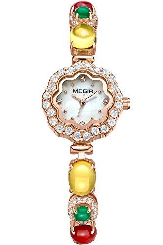 megir Montre Femme Bijoux Strass Montre bracelet acier inoxydable Luxe cadeaux multicolores Belle Horloge à quartz