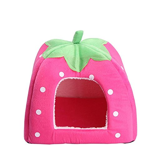 Mignon Foldable Strawberry Pet Bed Chien Cat Kitten Puppy Cave Chenil Maison avec tapis , L , 4