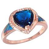 CAXYBB Ring Regenbogen-Feueropal Blue Stone Zirkonia Rose Gold Farbe für Frauen Schmuck Ring Sz 6-9 OJ9243