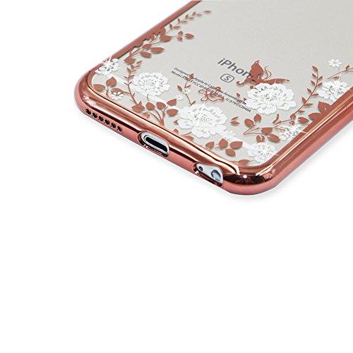 iPhone 6S Hülle Transparent Schutz Case,iPhone 6 Weiches Silikon Klar Dünn Gummi Durchsichtig Mit Strass Diamant Glitzer Bling Tasche Schutzhülle,Herzzer Flexibel Luxuriös (Gold) Galvanisieren Plated  Rose Gold Bumper:Weiß Blumen
