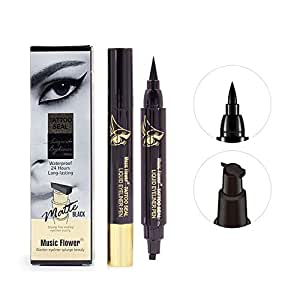 Music Flower Matte Black Liqiud Eyeliner Pen Tattoo Seal Waterproof 24H Long-lasting Smudge-proof Quick-Dry