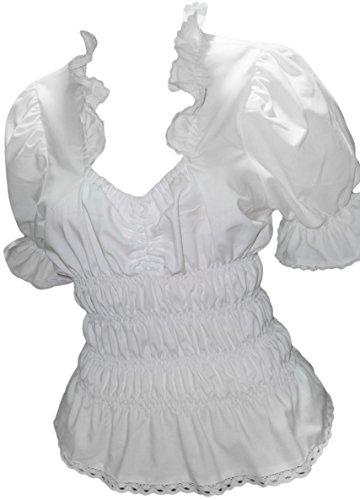By Johanna Trachtenbluse Trachten-Oberteil Rüsche.Weiß Kurz-arm (44) Damen Bluse zur Jeans,Hose,Rock,Short,Lederhose,perfekt Elegant Sexy oder Trachten.Damenbluse Dirndl-Bluse Macht den Look perfekt