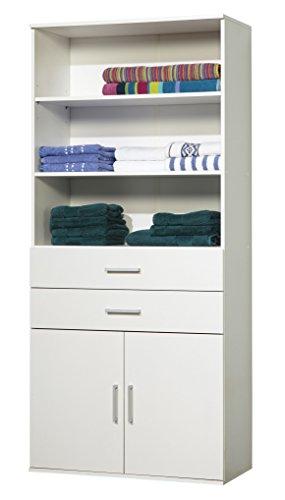 WILMES 40140-75 0 75 Regalschrank Ronny 2 Türen, Dekor Melamin, 80 x 178 x 39 cm, weiß (2-tür Schrank Nussbaum)