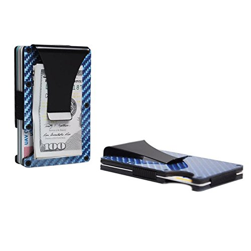 Brieftasche für Herren/Damen-Beste Carbon für minimalistisch und Reisen mit RFID-blockierender/Kredit Karte Halter und Geld Clip/Slim für Fronttasche blau (Index Karten Baby)
