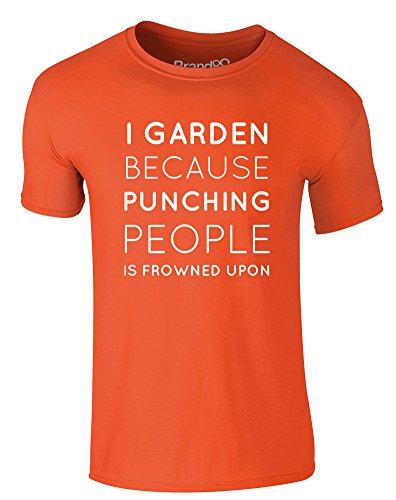 Brand88 - I Garden Because..., Erwachsene Gedrucktes T-Shirt Orange/Weiß