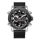 Blisfille Herren Uhren Lederarmband Wasserdicht Leder Armband Herrenuhr Multifunktional Schwarz Silber Outdoor Sportuhr Armbanduhr Automatikuhr