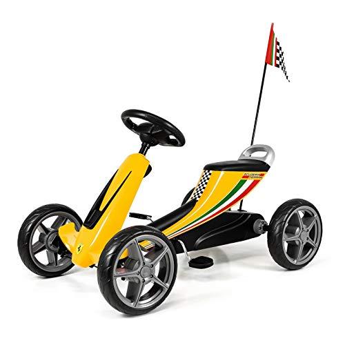 Ferrari Go-Kart Kinder Tretfahrzeug Tretauto Rennkart Go Cart Wagen (Gelb)
