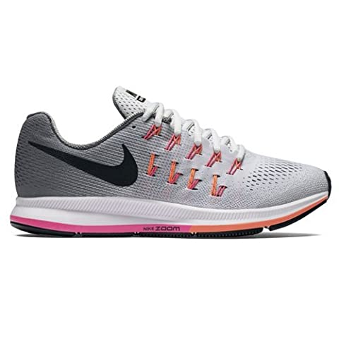 Nike Air Zoom Pegasus 33, Chaussures de Running Entrainement Femme, Argent (Pure Platinum/Black/Cool Grey/Pink Blast), 38 EU