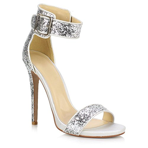 Sole Affair , Bride de cheville femme Silver Glitter