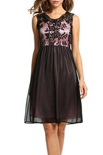 Zeagoo Damen Elegant V-Ausschnitt Spitzenkleid Partykleid Cocktailkleid Abschlusskleider A-Linie
