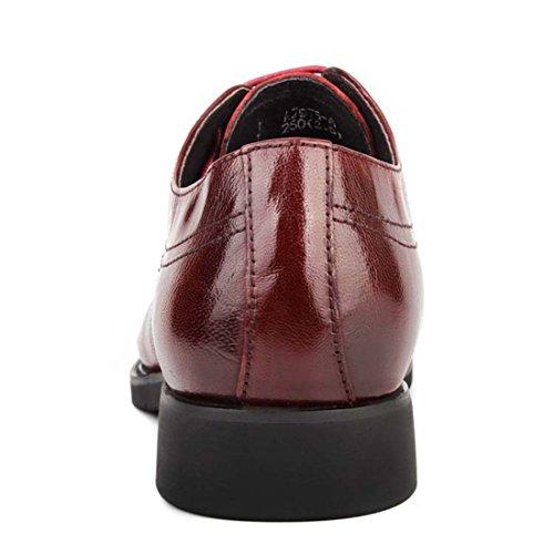 HENGJIA Herren Freizeitliche Arbeitsschuhe Klassischer Schnürhalbschuh Oxford-Schuh DF Rot