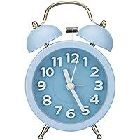 PiLife Silencioso No-Tictac Vintage Analógico Cuarzo Despertador con la Campana Gemela Redonda, Alarma Fuerte / Luz de Noche / Números 3D para Ligero & Durmientes Pesados - Azúl
