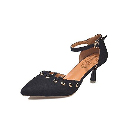 DIMAOL Scarpe da Donna in Pelle Scamosciata Comfort Molla Tacchi Stiletto Heel Punta Tonda per Casual Kaki Nero Nero