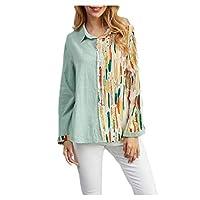 قميص DUe النسائي ذو الأكمام الطويلة الأنيق ذو الأزرار المطبوع بالزهور اخضر فاتح XX-Large
