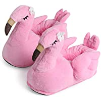 corimori 1847 (Various Animal Designs) Animal Shaped Plush Booties, Carpet Slippers, Tiffany the Flamingo, Pink, Kids  UK 8-1