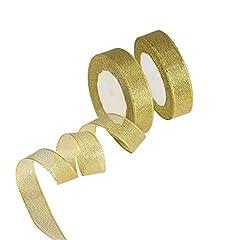 Idea Regalo - KAKOO Organza Ribbon, 2 Pezzi 25 Giardino 20mm Wide Glitter Decorazioni Nastri Decorativi per Confezione Regalo