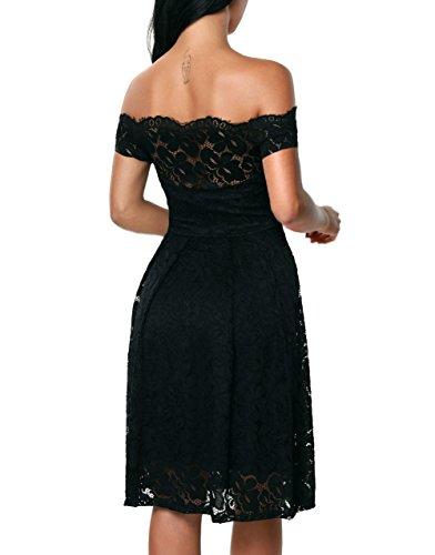 Zone Damen Elegant Abendkleid Cocktailkleid Kleider Schulterfreies ...