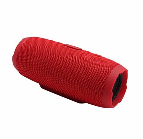 QAZWSX Bluetooth Lautsprecher, Wasserdichte Musik Stereo Sound Tragbare Drahtlose Lautsprecher Freisprecheinrichtung Mic Woofer Soundbar Lautsprecher Unterstützung TF,Red