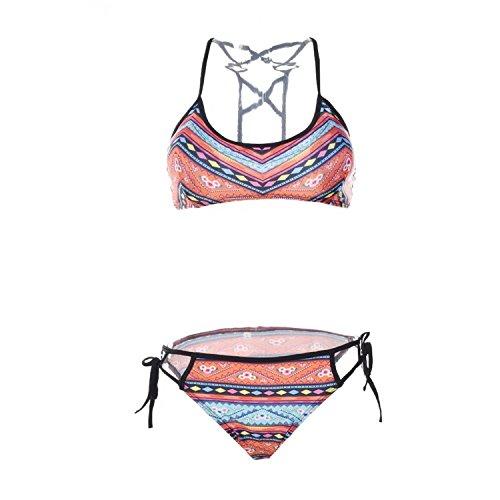 OYMMENEY EU 32 (S) Rosa Sexy Strand Damen Bandeau Bikini Push Up Set Blumendruck Badeanzug Bademode Tops und Bottoms Paisley