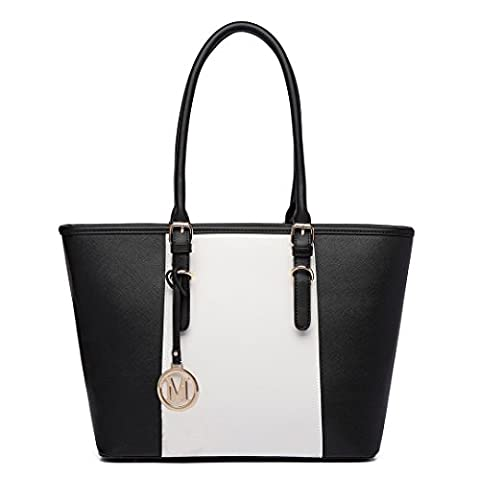 Miss Lulu Leather Look V-Shape Shoulder Handbag, Black, Large
