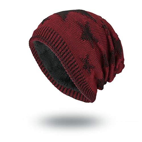 VJUKUB Mens Winter Warm Knitting Hats Baggy Slouchy Beanie Hat Cap Cuffed Plain Beanie Warm Winter Knit Hats Unisex Watch Cap Skull Cap,Burgundy Winter Watch Cap