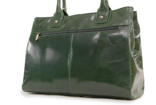 Borsa tote grande in pelle a spalla di Catwalk Collection Kensington Verde