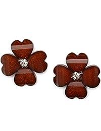 Idin Pendientes de clip - Hoja de trébol de color marrón con diamantes de imitación et efecto de cristal (aprox. 20 x 20 mm)