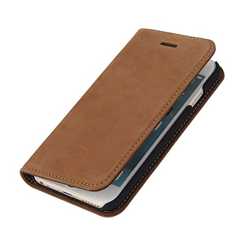 Wormcase Handytasche kompatibel mit iPhone 6S und 6 – LEDERHÜLLE – KARTENFACH –MAGNETVERSCHLUSS – Braun - Case Echt-Leder-Tasche-Hülle-Case Etui Flip Schutz-huelle Echtes-Leder