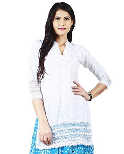 Haniya Chikan Embroidery Women's Short White Cotton Kurti (White, Medium)
