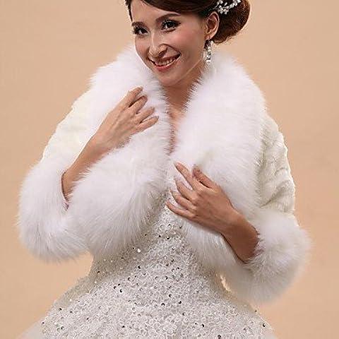 Coprispalle da sposa / wrap pelliccia / cappe & Ponchos Capelets 3/4-Length maniche Faux Fur White Wedding / Party/sera laminati collarButton