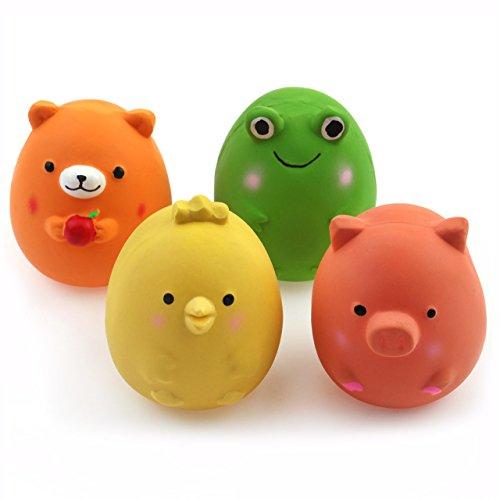 Chiwava 6cm 4 Stück Quitschende Hundespielzeug Latex Lustige Tier-Sets für Klein Hunde Interaktives Spielen Sortiert Farbe