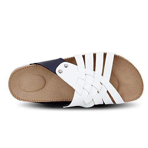 De Verão E Usar Confortável De Combinação Chinelos Branco Moda Chinelos Cor E Tecido Preto fgHfzB