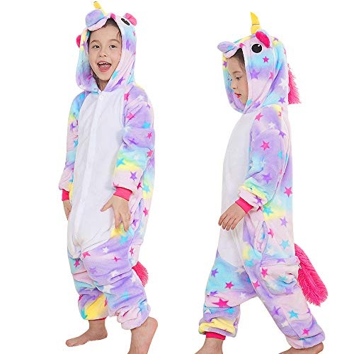 Yansion Bambini Unicorno Pigiama delle Onesie,Costumi Cosplay Felpa con Cappuccio Sleepwear Flanella Unicorno Nightwear Cartoon Fancy Dress Up per Bambini Regalo di Compleanno di Natale(M)