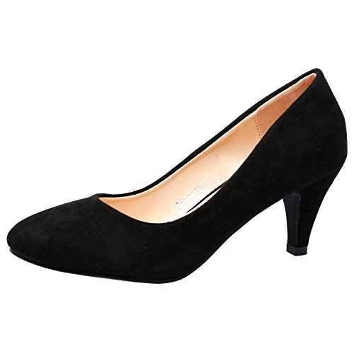 ByPublicDemand Leona Womens Mid Heel Slip On Court Shoe Black Faux Suede...