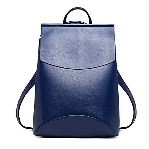 Rucksack Hochwertige Frauen Rucksäcke Mode Teenager Mädchen Schultasche Pu Reißverschluss Studenten Schultern Tasche tiefblauen