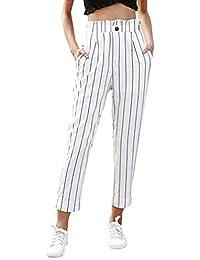 Elecenty Pantaloni Donna Eleganti Casual Leggings per pantaloni larghi con  stampa a righe Pantaloni a strisce d2ec9eae050