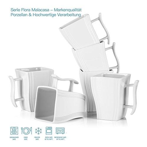 Malacasa, Serie Flora, 18 Teiligen Set Kaffeeservice Cremeweiß Porzellan Eckig Kaffeetasse Tassen...