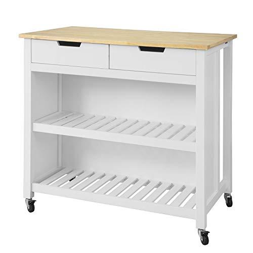 SoBuy FKW74-WN Kücheninsel Sideboard Küchenwagen Küchenschrank mit 2 Schubladen und Ablagen Weiß-Natur BHT ca.: 100x94x60cm