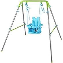 HLC Columpio Infantil Plegable / Diseño de Panda / Columpio para bebé de 9-36 meses / Azul-Verde
