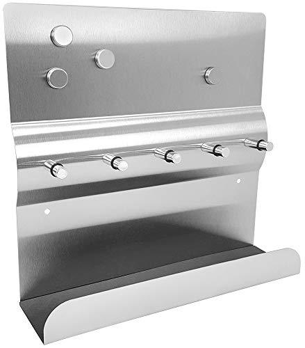COM-FOUR® Barra llaves acero inoxidable 1x estante