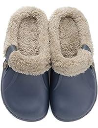 5f2e4cbaef24 PanpanBox Wasserdicht Hausschuhe Unisex Winter Warme Gefütterte Plüsch  Pantoffeln Rutschfeste Schuhe Bequem Slippers Pärchen Herren Damen