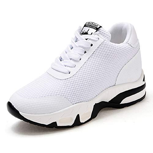AONEGOLD Sneakers Donna Zeppa Interna Scarpe da Ginnastica Sportive Fitness Tennis Tacco Zeppa 8 cm Nero Bianco Rosso(Bianco,38 EU)