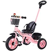 2 in 1 Trike Tricycle for Children, Kids First Bike Boys Girls Toddler Learning Trike with Removable Parent Push Handle for 1-6Yrs