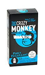 Idea Regalo - The Crazy Monkey Condoms - Fun+Fricition - con brufoli & scanalato per la massima intensità emotiva - realizzato in lattice di gomma naturale - 12 condoms - Made in Germany