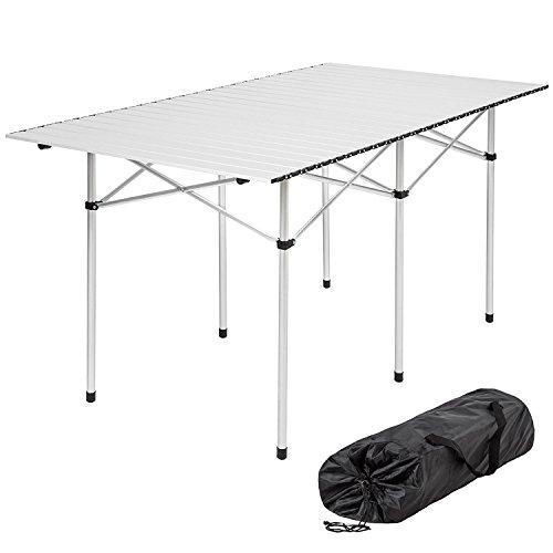 RAY BOT Campingtisch VARIE MISURE- Rollbarer Klapptisch - höhenverstellbar Picknick-Tisch für Messen - Gartentisch - Tisch aus Aluminium - Tischplatte - aufrollbar - Tisch (Klapptische Messen Für)