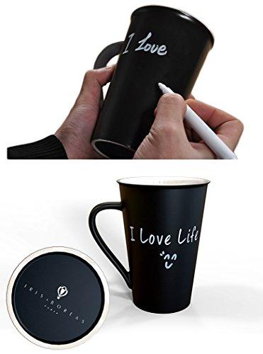 Iris&boreas [tazza e mug ardesia personalizzabile] con [penna a gesso bianco] per scrivere all'infinito messaggi, parole o disegni