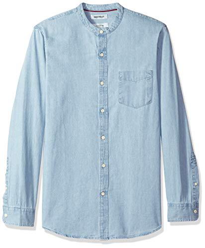 Goodthreads Herren Slim-Fit Denim-Hemd  mit langen Ärmeln und Stehkragen, Blau (Light Blue Lig), Gr. Large (Van Heusen-hemd Slim Fit)