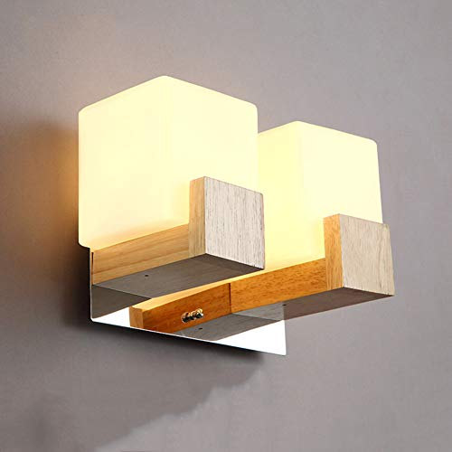 CCSUN E27 E26 feste hölzerne wand lampen schlafzimmer,Moderne lampen schlafzimmer wohnzimmer gang bad eitelkeit wandleuchte- doppelt (Doppelte Bad Eitelkeit)